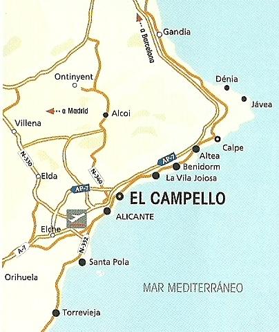 Karta Fran Alicante Till Torrevieja.El Campello